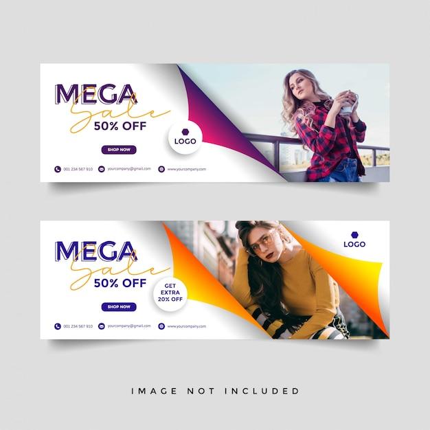 Mode verkauf facebook cover banner vorlage Premium Vektoren