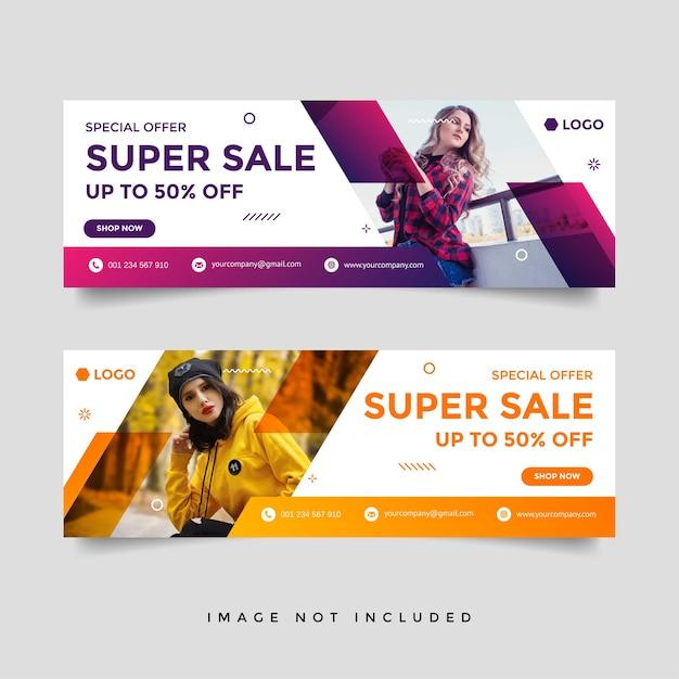 Mode verkauf facebook cover banner werbung design-vorlage Premium Vektoren