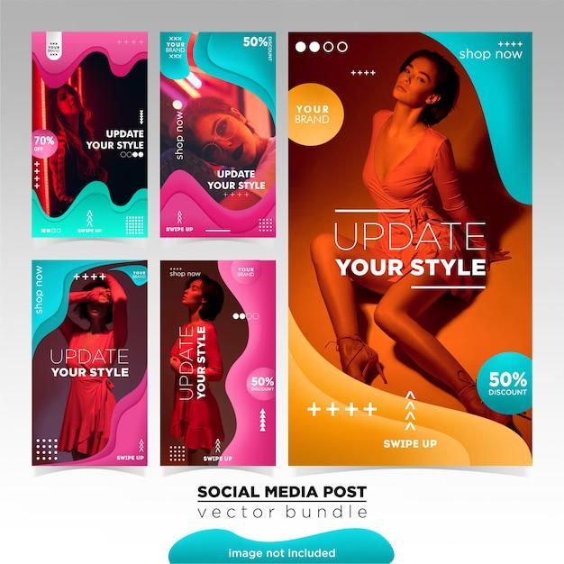 Mode verkauf instagram geschichten vorlage Premium Vektoren