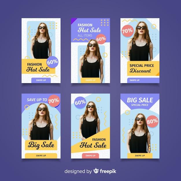 Mode verkauf instagram geschichten Kostenlosen Vektoren