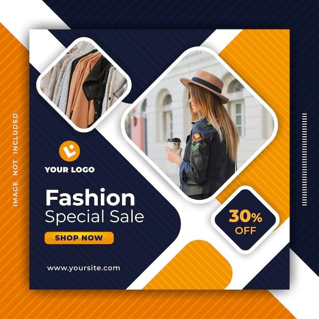 Mode-verkaufsfahnen-social media-beitrags-designschablone. Premium Vektoren