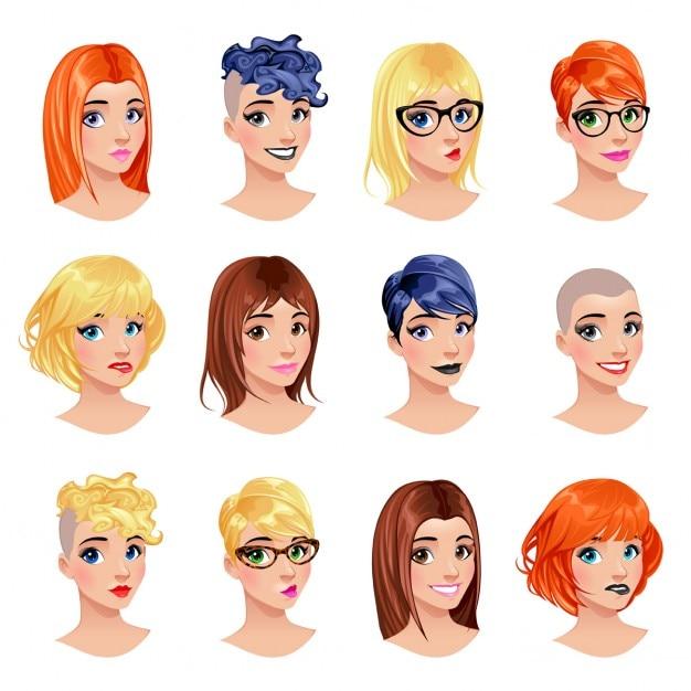 Mode weibliche avatare frisuren augen und münder sind austauschbar vektordatei isolierte objekte Kostenlosen Vektoren