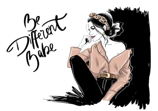 Modefrau im animalischen stirnband im hemd Premium Vektoren