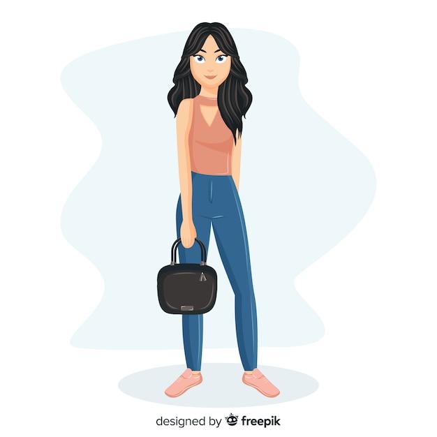 Modeillustration mit weiblichem modell Kostenlosen Vektoren