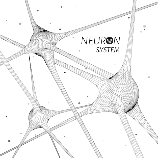 Modell des 3d-neuronsystems. vektorgrafikdesignelement für wissenschaftsveröffentlichung. Premium Vektoren