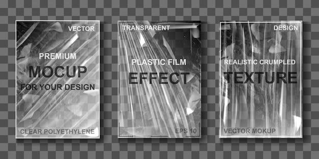 Modell eines transparenten cellophan-stretchfilms Kostenlosen Vektoren