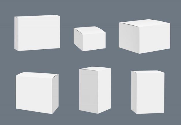 Modell für leere pakete. realistische schablone der quadratischen weißen geschlossenen kastenbehälter lokalisiert Premium Vektoren