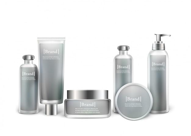 Modell-satz der kosmetischen phiolenflasche der silbernen flaschen Premium Vektoren