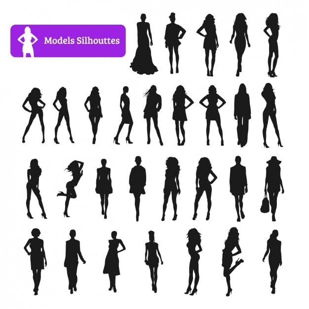Modell silhouette collection Kostenlosen Vektoren