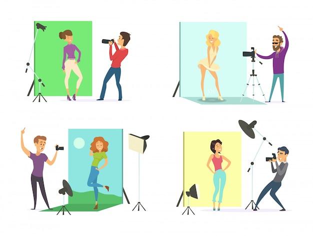 Models männlich und weiblich posieren für fotos. fotografen bei der arbeit im fotostudio Premium Vektoren