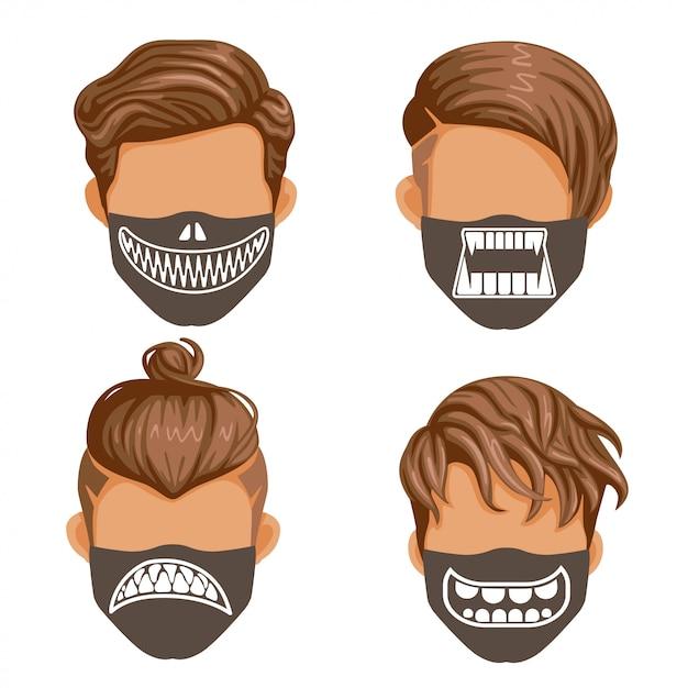 Modemasken-set. reißzähne der geister- oder dämonensammlung. mode für männer schwarz und weiß. halloween mode Premium Vektoren