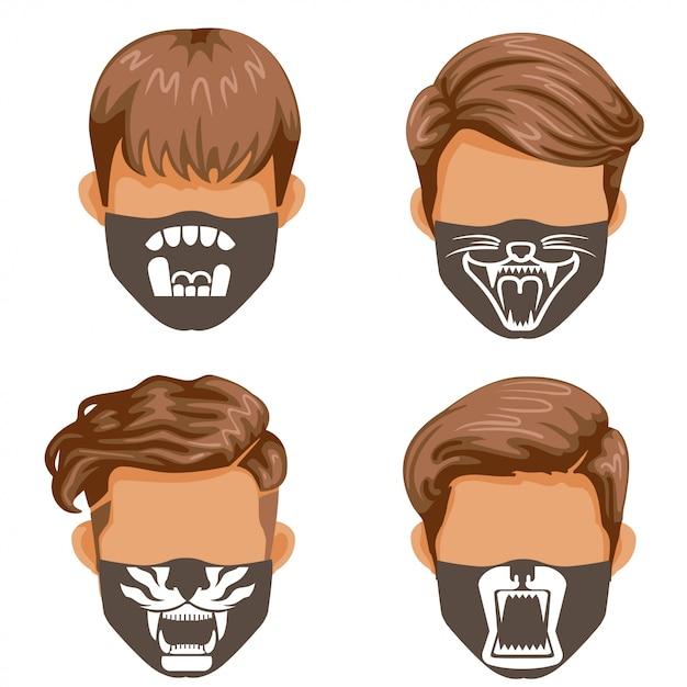 Modemasken-set. wildtiersammlung. mode für männer schwarzweiss-druckmuster auf stoff. Premium Vektoren