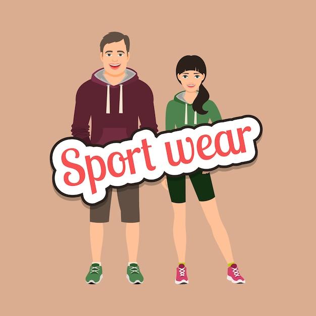 Modepaare in der sportartkleidung Premium Vektoren
