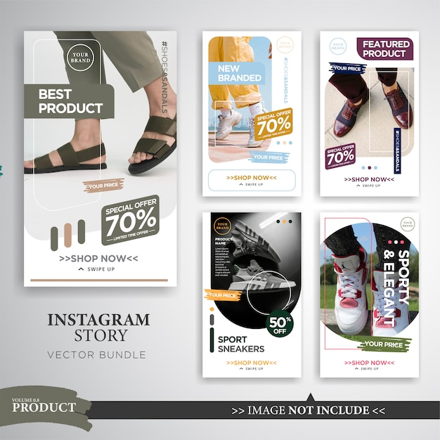 Modeprodukt verkauf instagram geschichtenvorlage Premium Vektoren