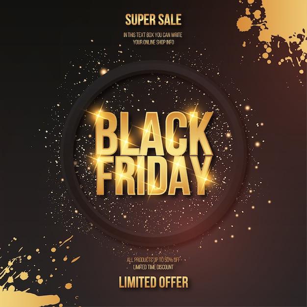 Modern black friday golden sale mit texteffekt und splash frame Kostenlosen Vektoren