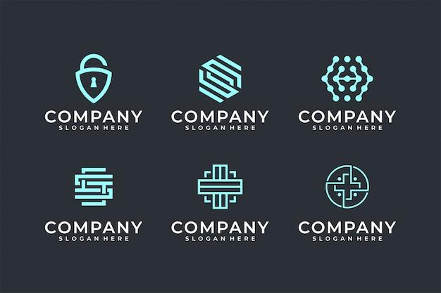 Modern line art logo set bundle Premium Vektoren