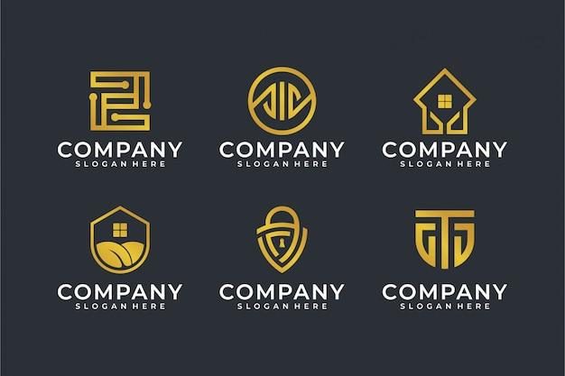 Modern line art logo vorlage set Premium Vektoren