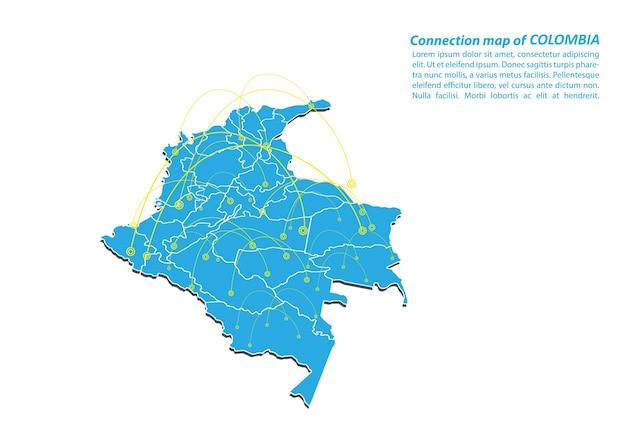 Modern of colombia karte verbindungen netzwerk-design Premium Vektoren