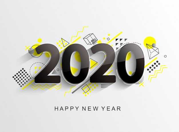 Moderne 2020 designkarte Premium Vektoren