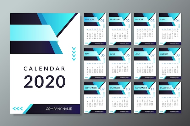 Moderne 2020 kalendervorlage Kostenlosen Vektoren