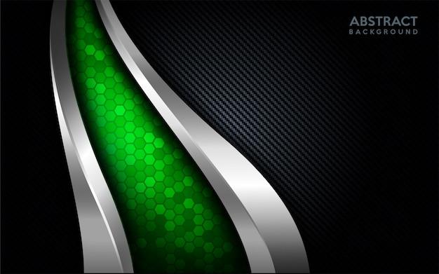 Moderne abstrakte grüne technologie mit silberner linie und dunklem kohlenstoffhintergrund. Premium Vektoren
