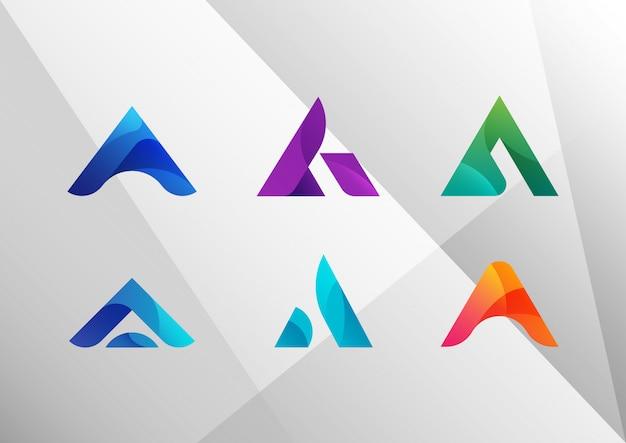 Moderne abstrakte steigung a logo set Premium Vektoren