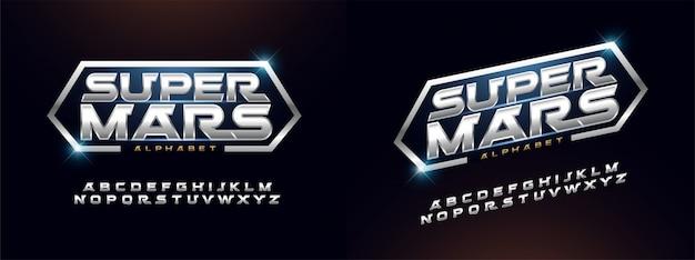 Moderne alphabetgusssilbertechnologie-typografie Premium Vektoren