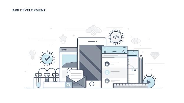 Moderne apps-entwicklungskomponenten Premium Vektoren