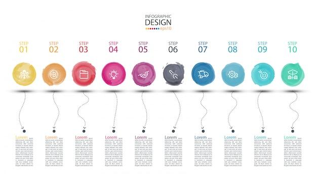 Moderne aquarellaufkleber infographics kunst. Premium Vektoren