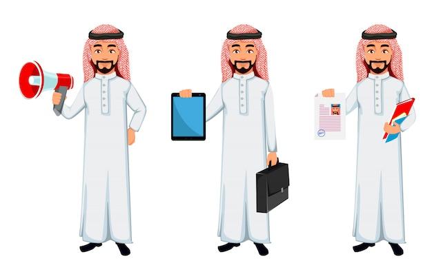 Moderne arabische geschäftsmannzeichentrickfilm-figur Premium Vektoren