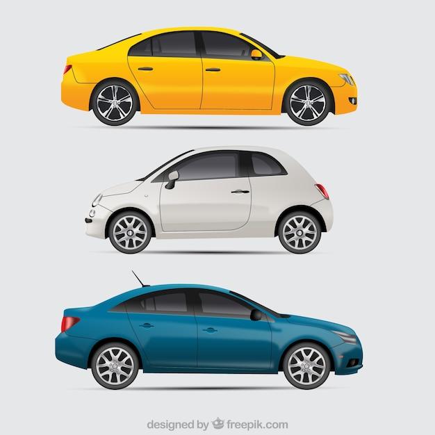 Moderne autos mit realistischem stil Premium Vektoren