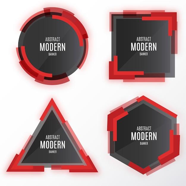 Moderne banner-kollektion mit abstrakten formen Kostenlosen Vektoren