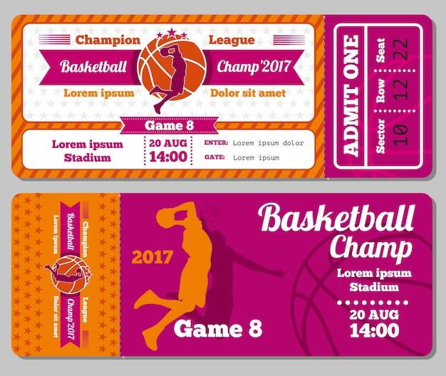 Moderne basketball-ticket-vektor-vorlage Premium Vektoren