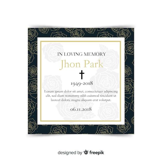 Moderne begräbniskarte mit elegantem stil Kostenlosen Vektoren