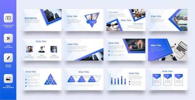 Moderne blaue mehrzweck-präsentationsschablone Premium Vektoren