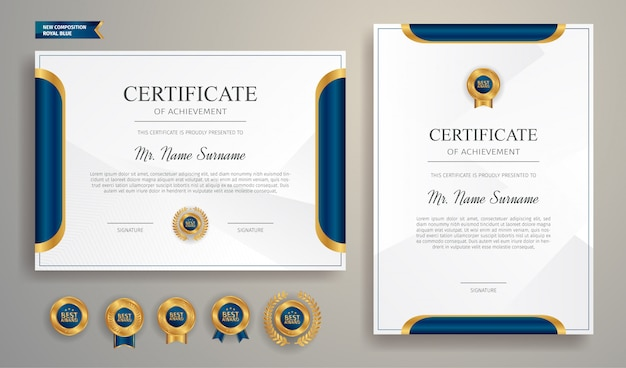 Moderne blaue und goldene zertifikatschablone mit abzeichen und rand Premium Vektoren
