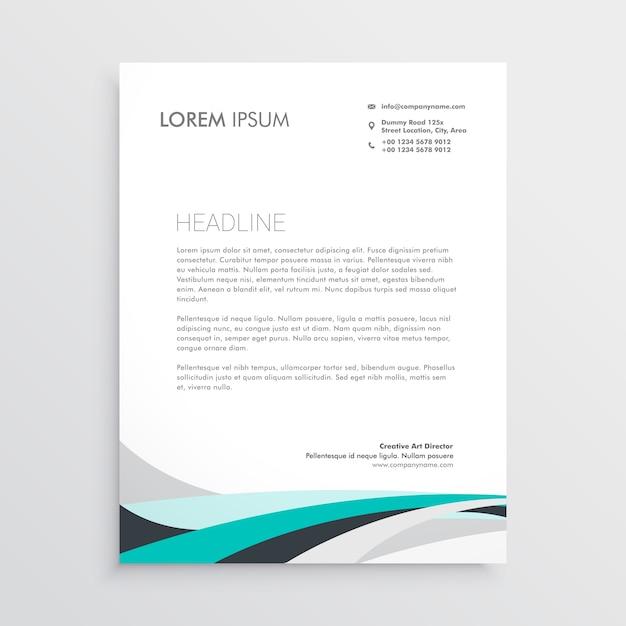 Moderne Briefkopf Vektor Design Vorlage Mit Blauen Wellenform