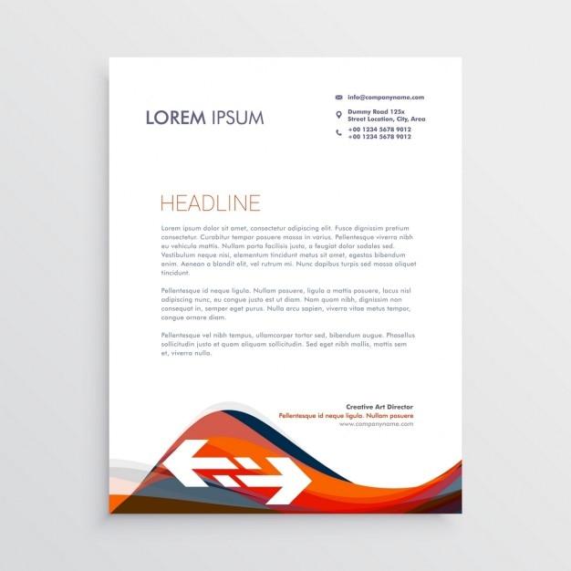 Moderne Briefpapier-Design-Vorlage mit roten und blauen Wellen ...