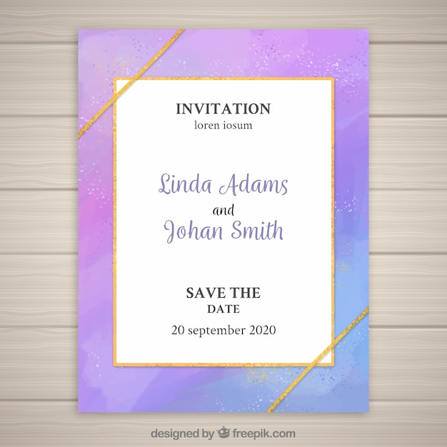 Moderne bunte Hochzeitseinladung Kostenlose Vektoren