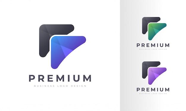 Moderne bunte raketenpfeil-logo-entwurfsschablone Premium Vektoren
