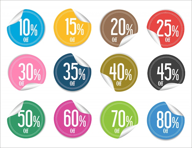 Moderne bunte verkaufsaufkleberansammlung Premium Vektoren