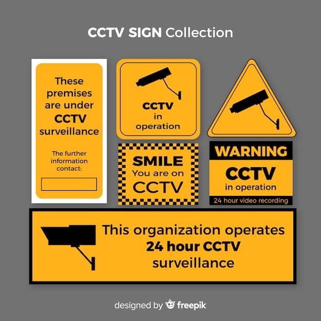 Moderne cctv-zeichensammlung mit flachem design Kostenlosen Vektoren