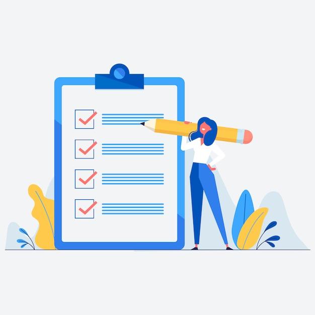 Moderne checklistenabbildung Kostenlosen Vektoren