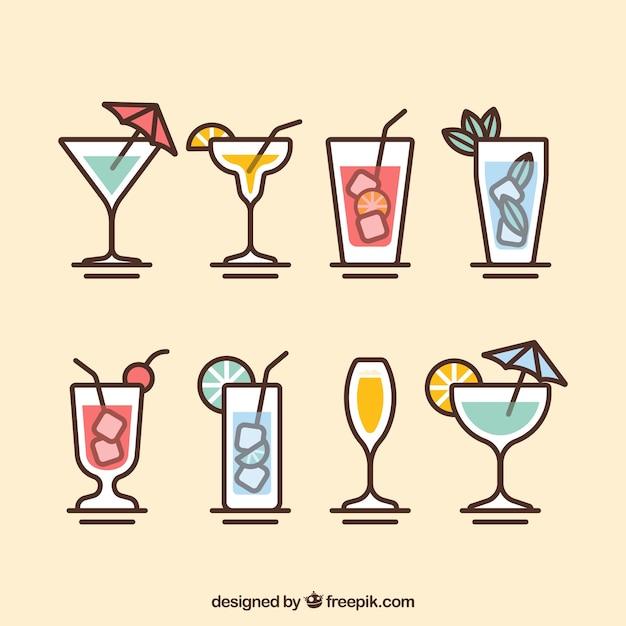 Moderne cocktailkollektion mit flachem design Kostenlosen Vektoren