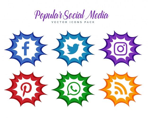Moderne comic-stil social media icons sammlung Kostenlosen Vektoren