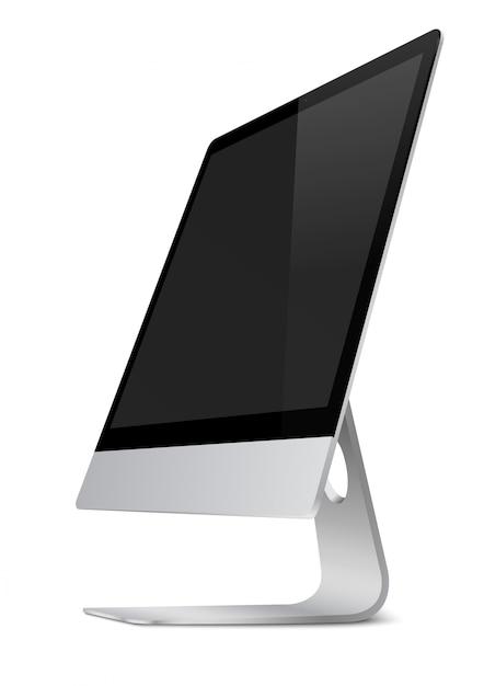 Moderne computerbildschirmanzeige mit schwarzem bildschirm. Premium Vektoren