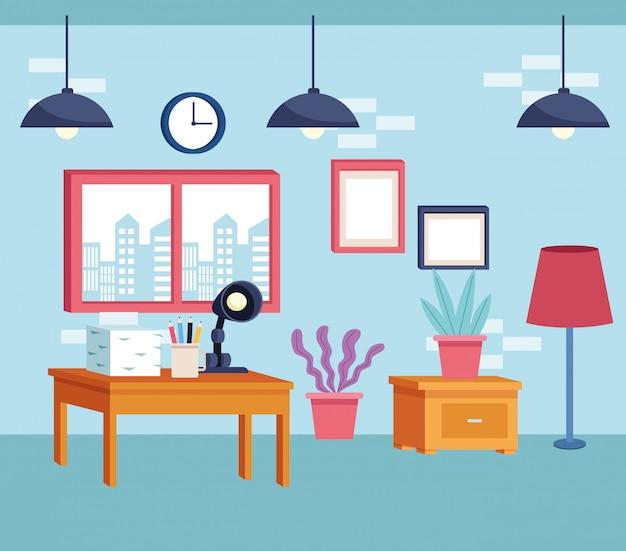 Moderne dekorationsartkarikatur der möbel Premium Vektoren