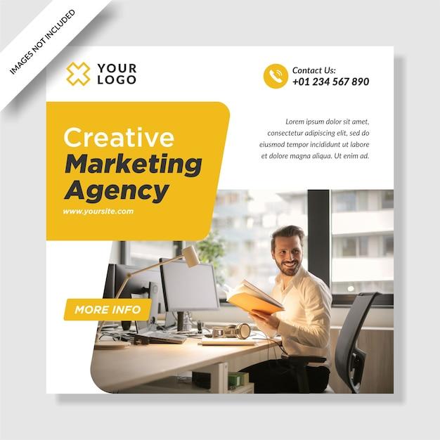 Moderne digitale marketingagentur instagram post banner social media design Premium Vektoren