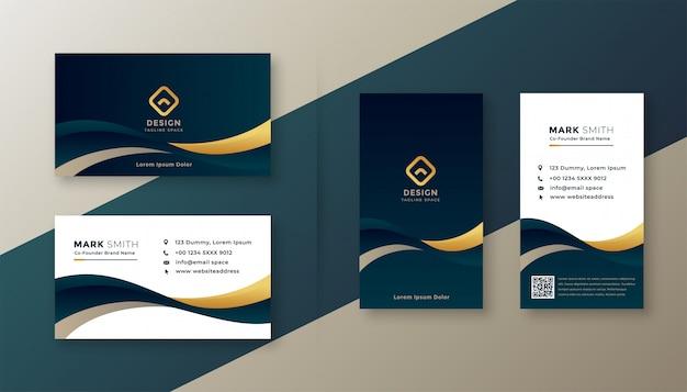 Moderne elegante goldene wellengeschäftskarte Kostenlosen Vektoren
