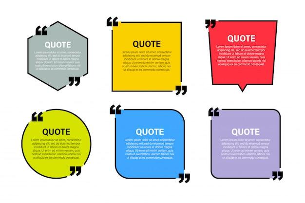 Moderne elemente des modischen blockzitats kreative zitat- und kommentartextrahmenschablone Premium Vektoren